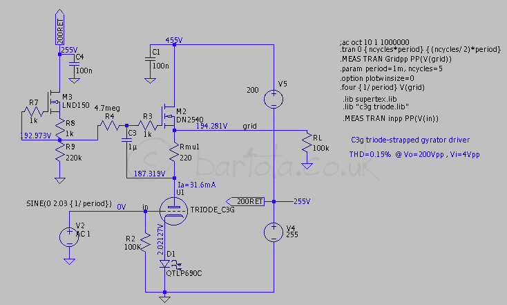 C G Driver With Gyrator on Tube Amplifier Schematics